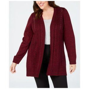 1X Karen Scott Plus Size Duster Cardigan Sweater